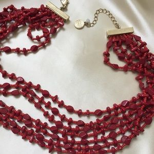 """7-Strand Faux Coral Bead Necklace 18"""" (p37)"""